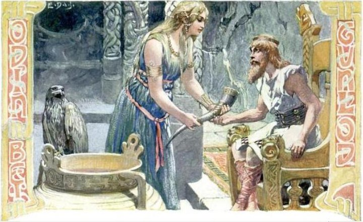 Odin drinks mead
