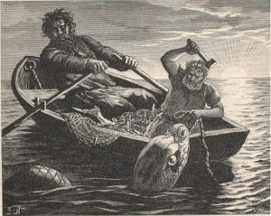 Thor fishing with Hymir