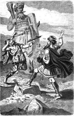 Thor fights Hrungnir